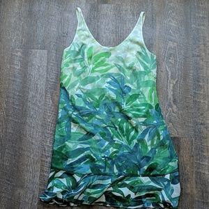 Cabi Castaway Green Leaf Print Dress